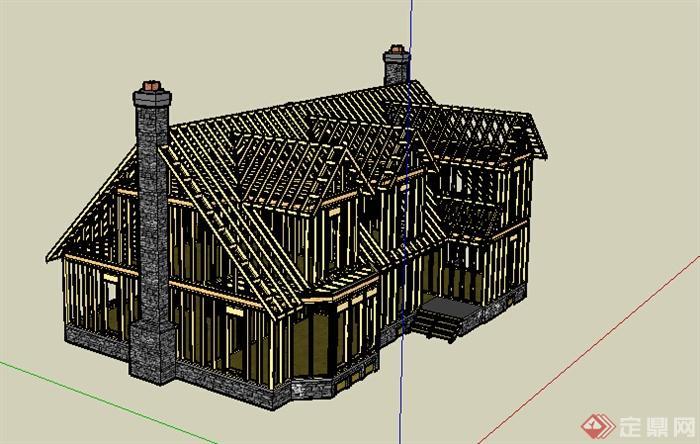 欧式木质结构两层住宅建筑设计su模型