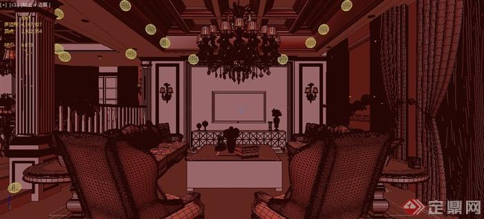 某欧式多层住宅建筑室内客厅造型设计3dmax