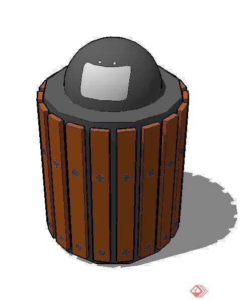 一个圆桶行垃圾桶设计su模型