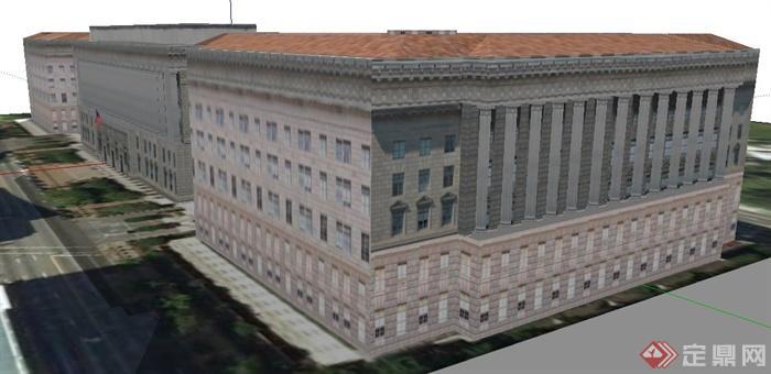 现代欧式办公大楼建筑设计su模型