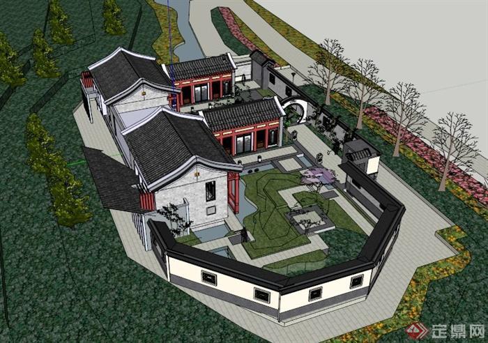 某古典中式四合院风格徽派住宅建筑设计su模型