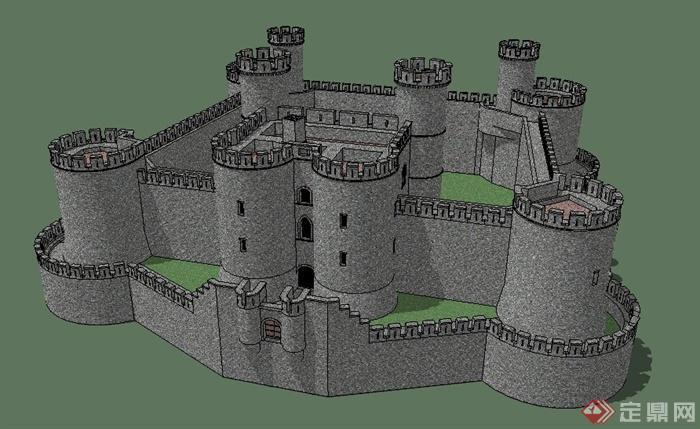 古欧式模型建筑设计SU城堡平台精密v模型图纸图片