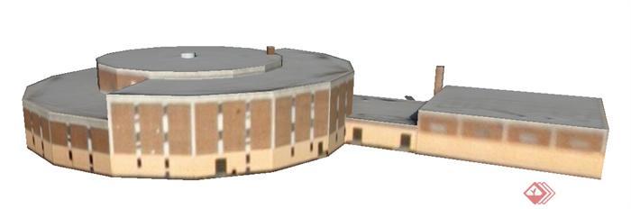现代圆形室内体育馆建筑设计su模型(1)
