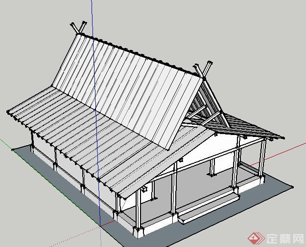 现代中式单层木质游览建筑设计su模型