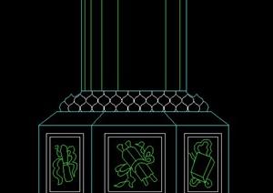 中式风格景观柱基座立面图