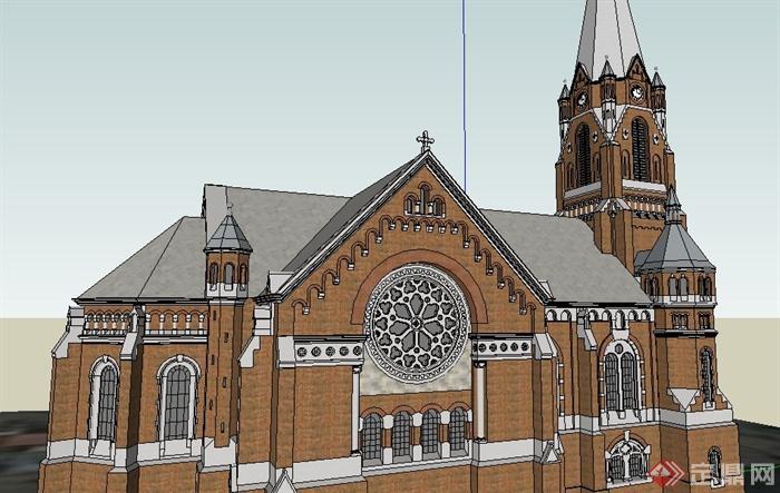 欧式基督教堂建筑设计su模型