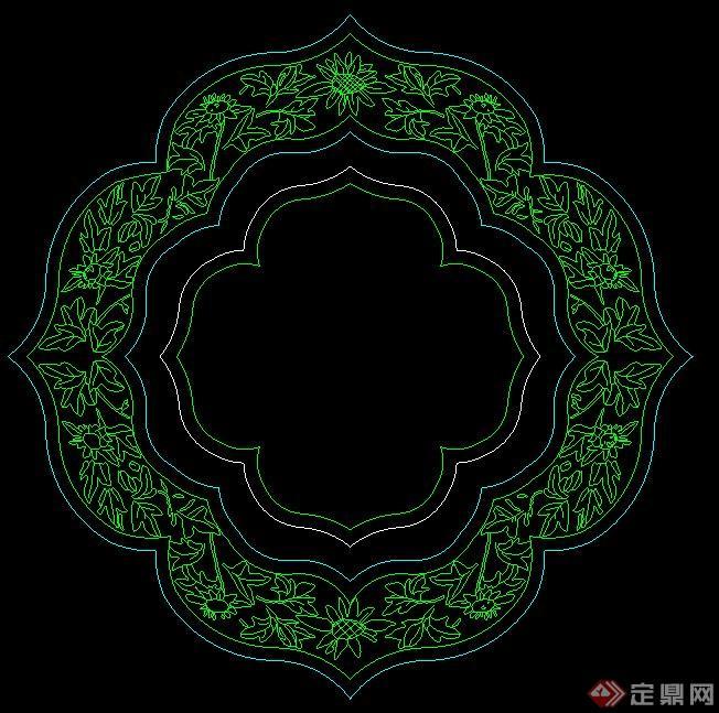 中式花纹窗户立面图