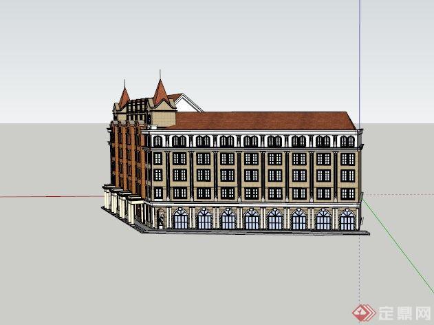 某欧式五层使用建筑设计su模型