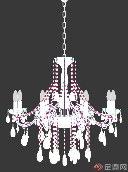欧式室内水晶吊顶3dmax单体模型