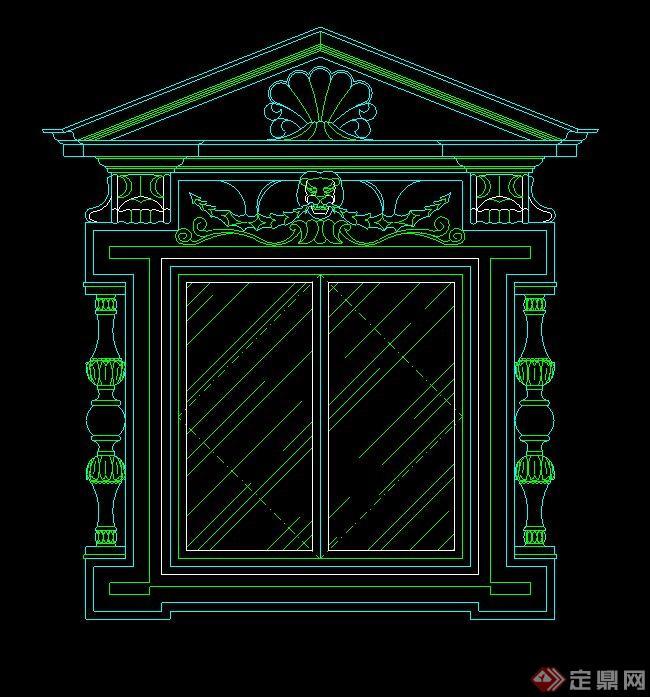 某欧式窗台设计cad立面图
