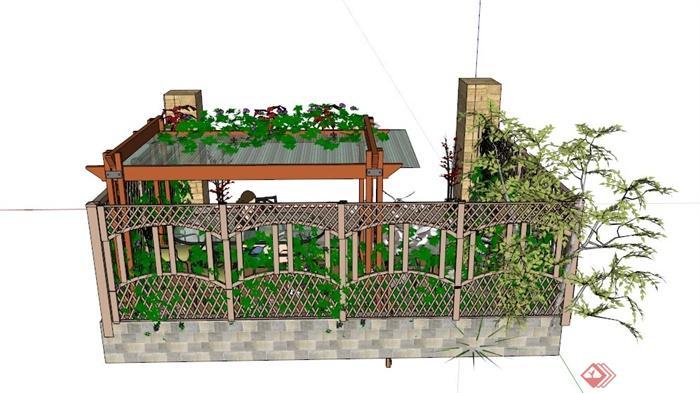 某現代私家小花園景觀設計su模型(2)