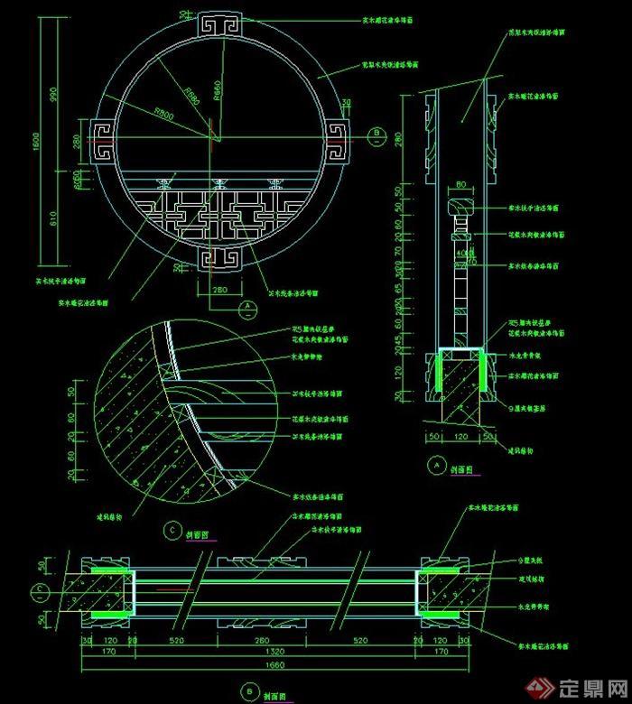 圆形浴缸立面cad_一道圆形窗户设计CAD施工图