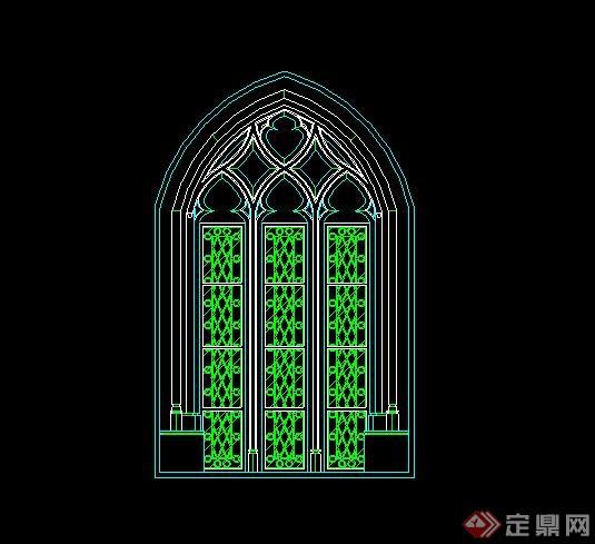 某欧式建筑窗子设计cad方案图