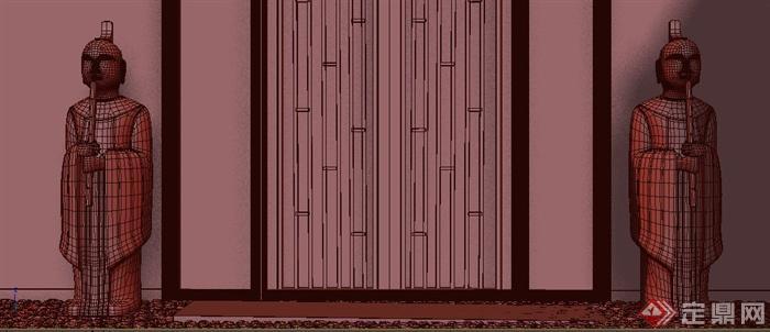 某 中式玄关装饰人物雕像设计3dmax模型(1)