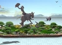 某廠區入口花壇設計驢雕塑效果圖
