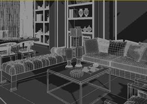 中式客厅沙发茶几书桌椅组合3dmax模型