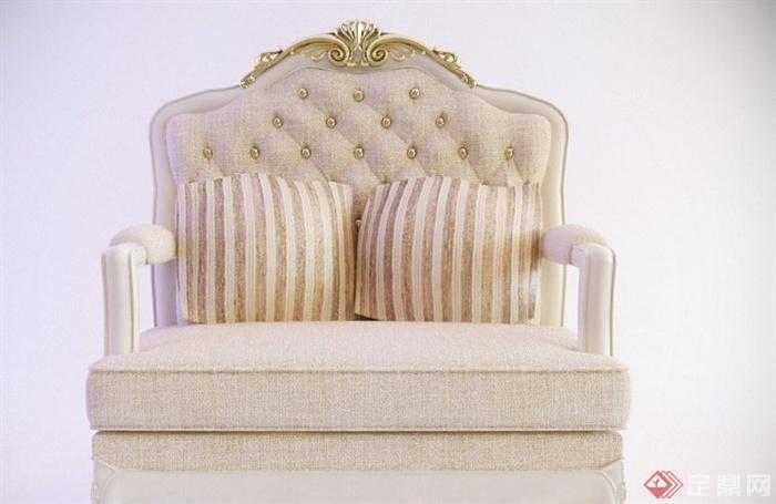 欧式风格双人沙发3dmax模型