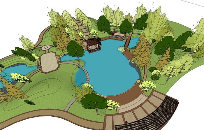 歐式風格庭院花園景觀設計su模型[原創]