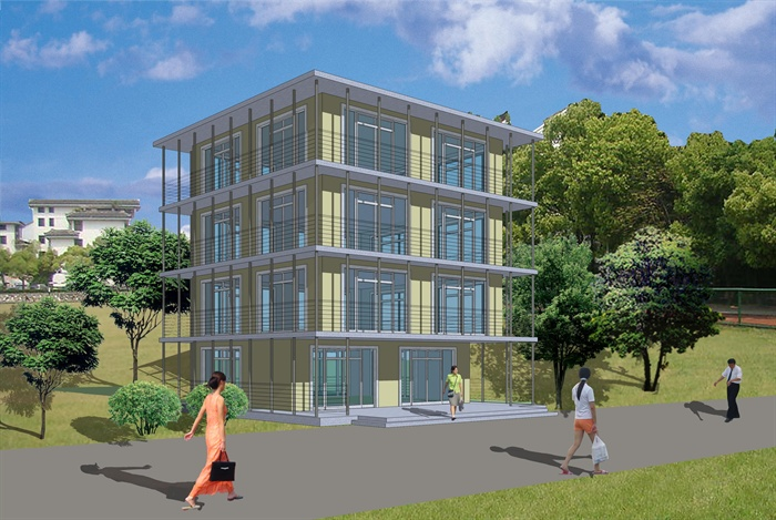 现代风格四层办公楼建筑设计su圣坛[原创]普陀山单位模型的建筑设计观音图片