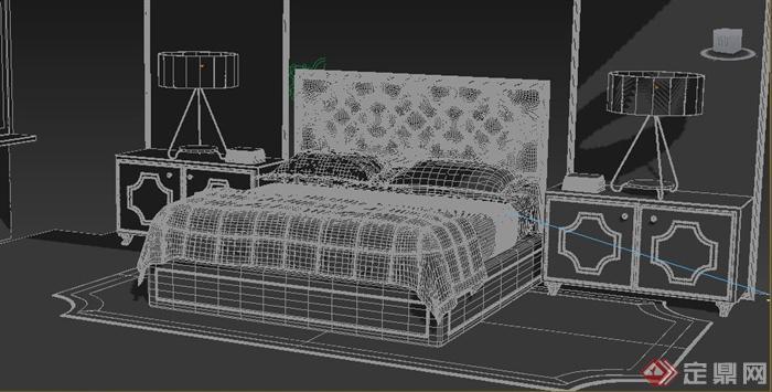 现代风格床及床头柜家具组合3dmax模型
