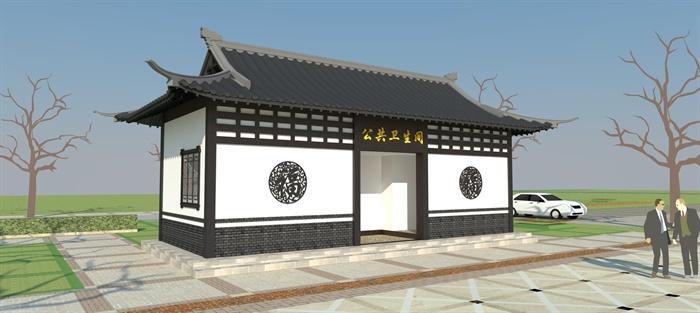 现代中式公共厕所su模型[原创]