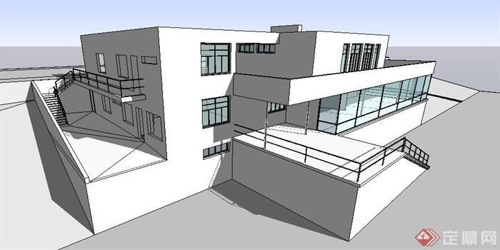 现代声望图根哈特风格建筑设计su别墅(含cad图wlk裁缝图纸模型图片
