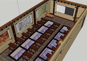 某历史教室室内装饰设计SU(草图大师)模型