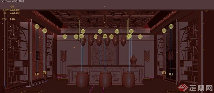 某古典中式 展示厅装修设计3dmax模型