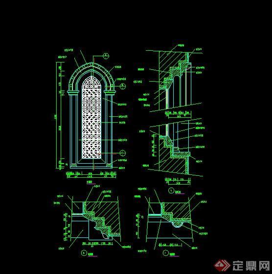 某欧式阁楼窗子设计cad施工图