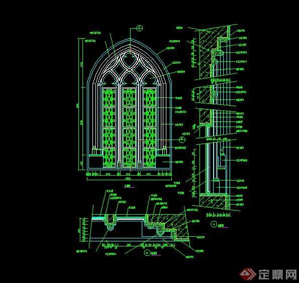 某欧式教堂建筑窗子设计cad施工图