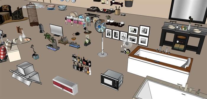 室内摆设家电家具设计su模型集锦