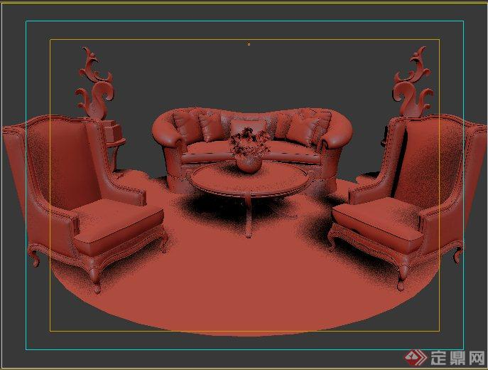 欧式风格沙发茶几组合3dmax模型