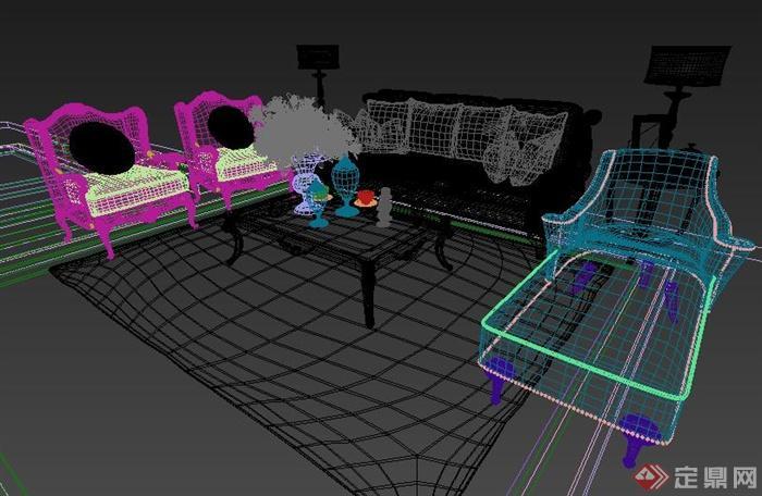 欧式一组室内客厅沙发3dmax模型