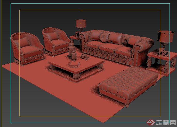 室内设计欧式风格沙发家具3dmax模型