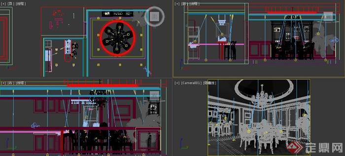 欧式风格餐厅室内装饰3dmax模型