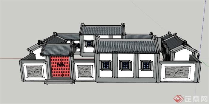 某古典中式单层四合院建筑设计su模型