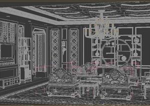古典中式风格会客厅、客厅室内设计3DMAX模型