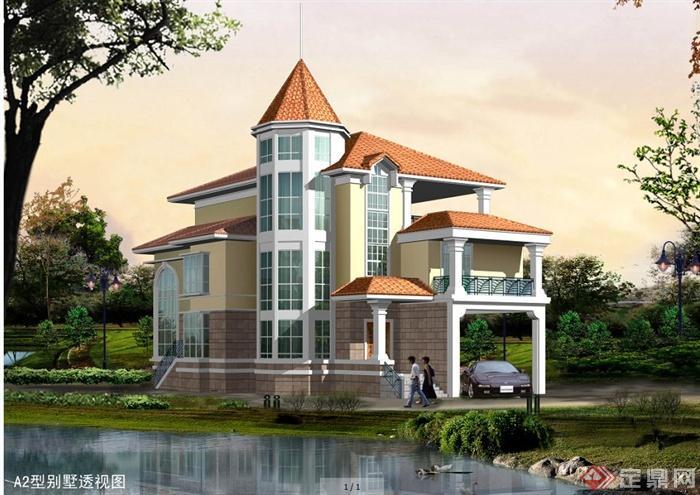 某三层新农村欧式风格别墅建筑设计施工图(含效果图)