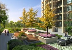 某高层住宅小区绿化景观psd效果图-其他园林景观设计方案效果图设计