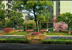 某住宅小区绿化景观效果图psd格式-其他园林景观设计方案效果图设计