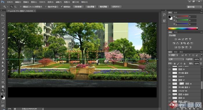 某住宅小区绿化景观效果图psd格式