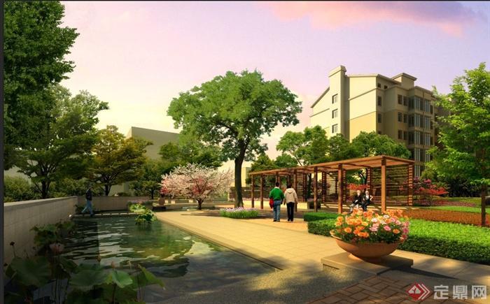 某多层住宅小区绿化景观psd效果图