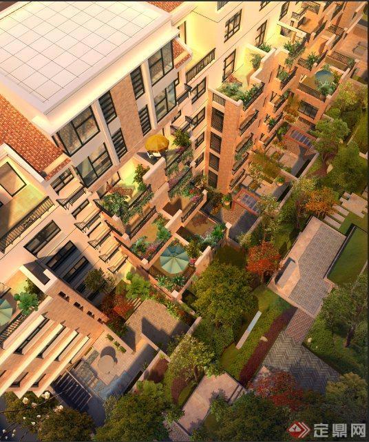 某多层住宅建筑景观效果图psd格式