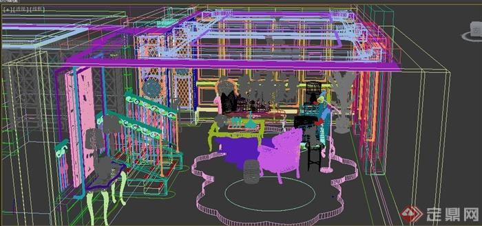 某欧式两层客厅空间住宅设计3DMAX模型排三房屋设计图片