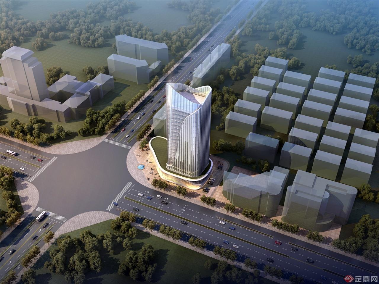 转角口高层办公楼建筑设计