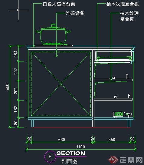 室内装饰设计下橱柜剖面图