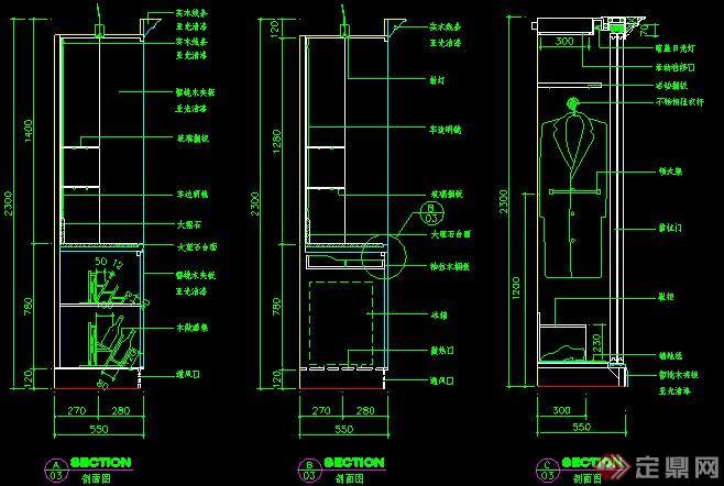 室内装饰酒柜与衣柜剖面详图(1)