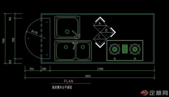 某现代厨房灶台设计CAD平面图(1)