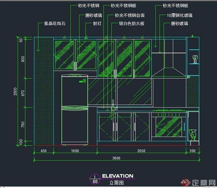 室内厨房装修设计CAD立面图
