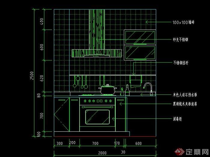 现代某厨房立面设计CAD施工图图片